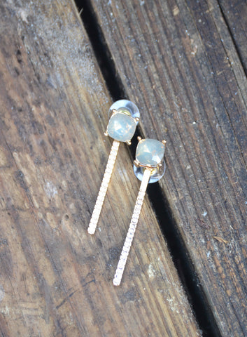 Crystal Bar Drop Earrings - Topaz