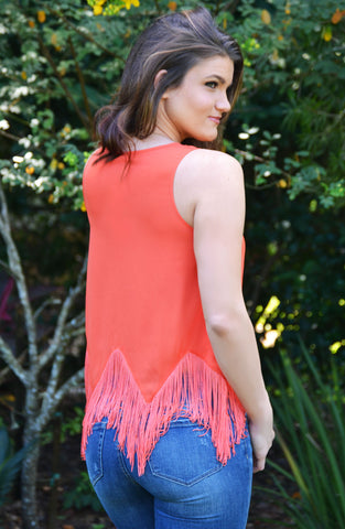 On the Fringe Top - Orange