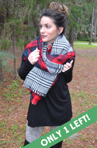 Double-Sided Plaid Scarf - Red
