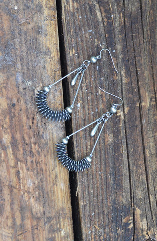 Bead & Spring Teardrop Earrings - Silver