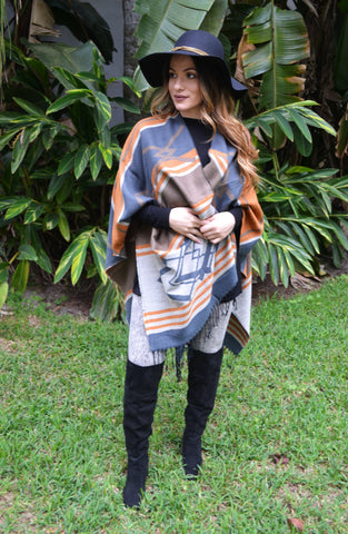 Western Poncho with Tassels - Light Orange/Blue