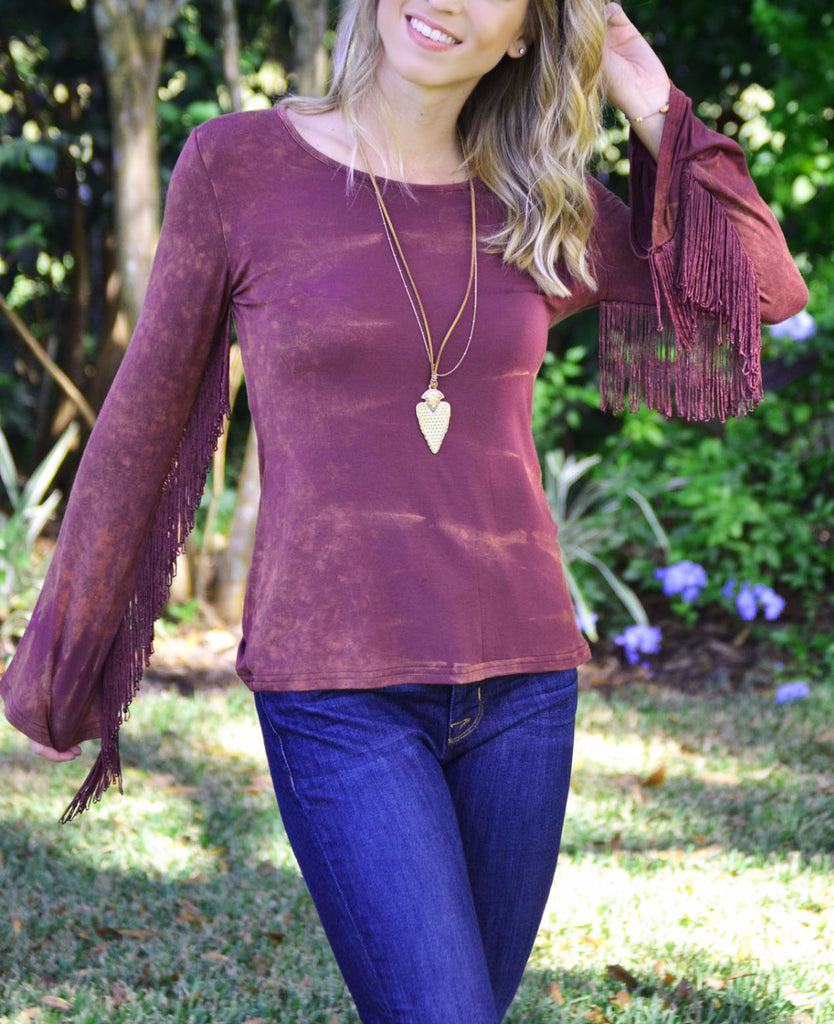 Fringe Benefits Top - Wine - Worn & Raised  - 1