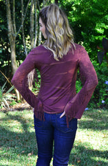 Fringe Benefits Top - Wine - Worn & Raised  - 2