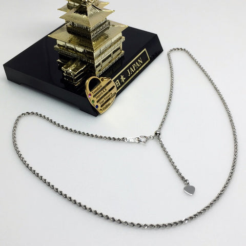 18K Japan White Gold Rope Chain Necklace Only
