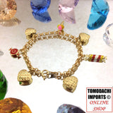 18k Japan Yellow Gold Heart and Sweets Charm Bracelet