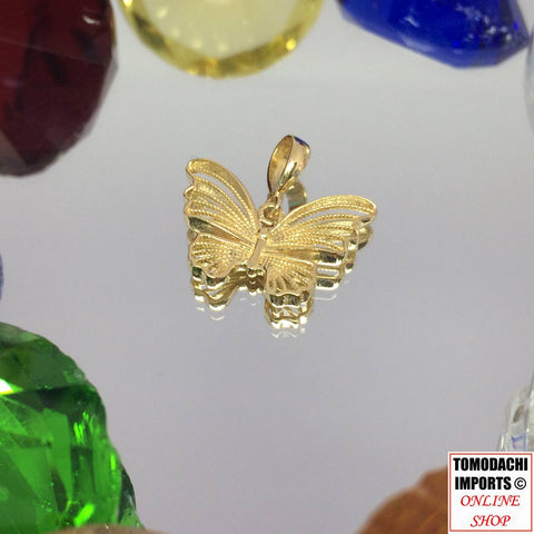 18k Japan Yellow Gold Small Butterfly Pendant