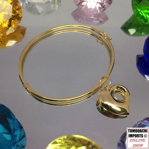 18k Japan Yellow Gold Stackable Bangle Bracelet with Heart Dangle