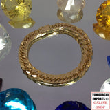 18k Japan Yellow Gold 8 cut Triple 30g 18cm Bracelet