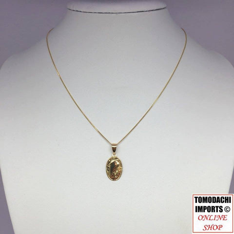 18k Japan Yellow Gold Mary Pendant Chain Necklace