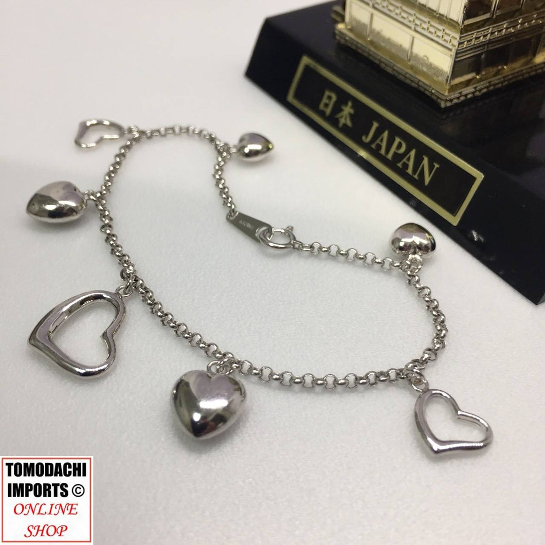 18k Japan White Gold Heart Charm Bracelet