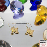 18k Japan Yellow Gold Initial Dangling Earrings - M