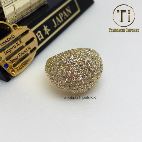 18k Japan Yellow Gold Diamond Studded Chunky Ring