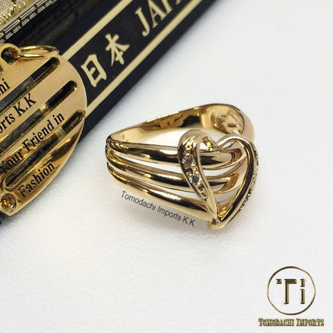 18k Japan Yellow Gold Heart Ring
