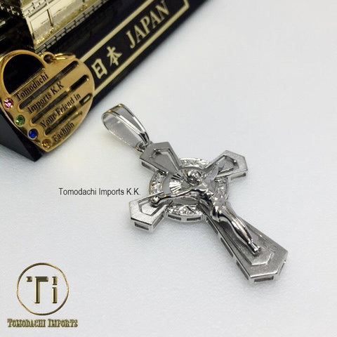 18k Japan White Gold Bold Cross Pendant