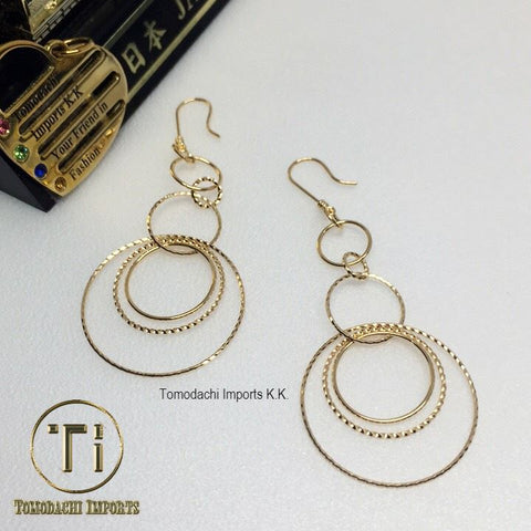 18k Japan Yellow Gold Multi Hoops Drop Earrings