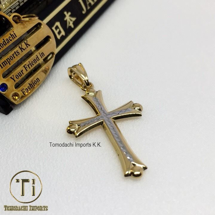 18K Japan Gold Two Tone Cross Pendant