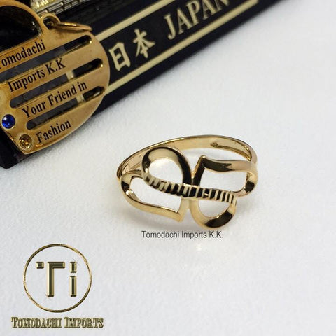 18k Japan Yellow Gold Adjacent Hearts Ring