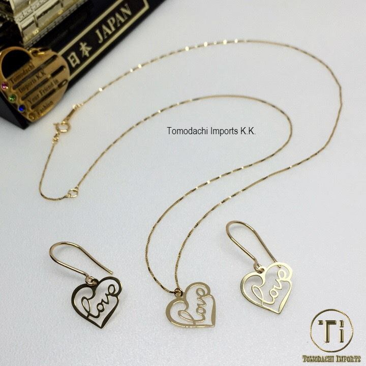 18k Japan Yellow Gold Love Heart Pendant and chain with matching Earrings (Set)