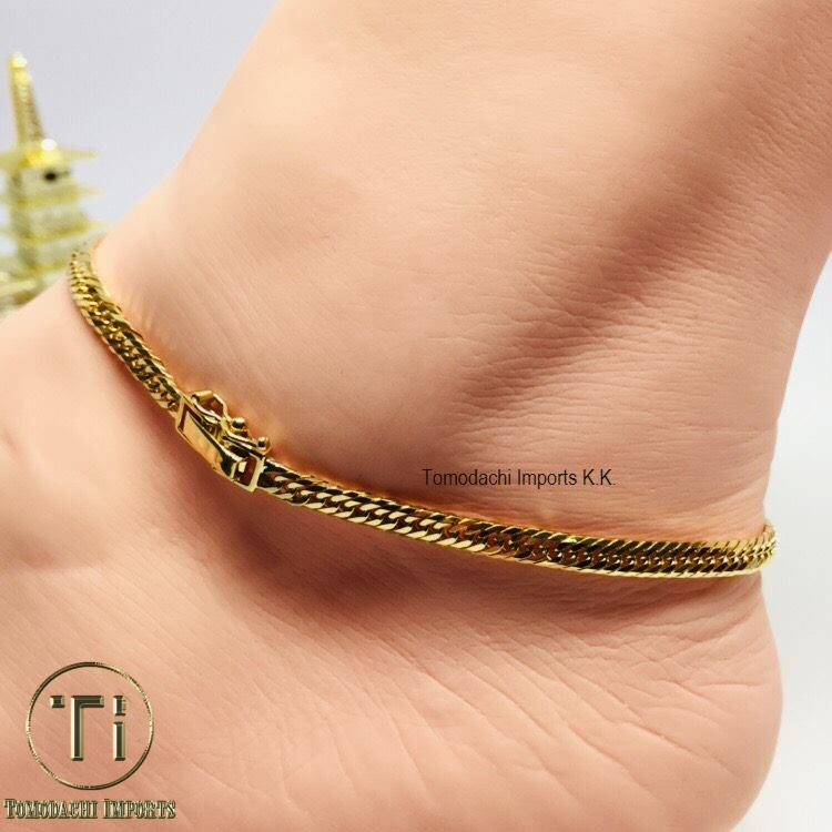 18k Japan Yellow Gold 8 cut 10g 24cm Anklet