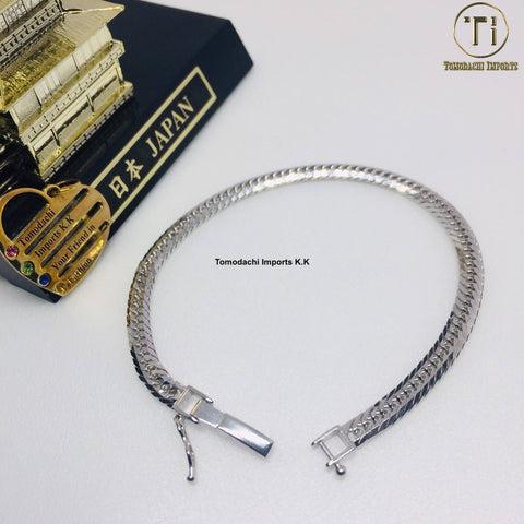 18k Japan White Gold 8 cut 10g 18cm Bracelet