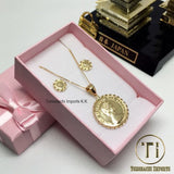 18K Japan Gold Elizabeth Pendant with chain and Matching Earrings (Set)