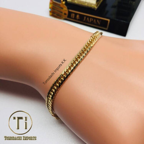 18k Japan Yellow Gold 8 cut 10g 18cm Bracelet
