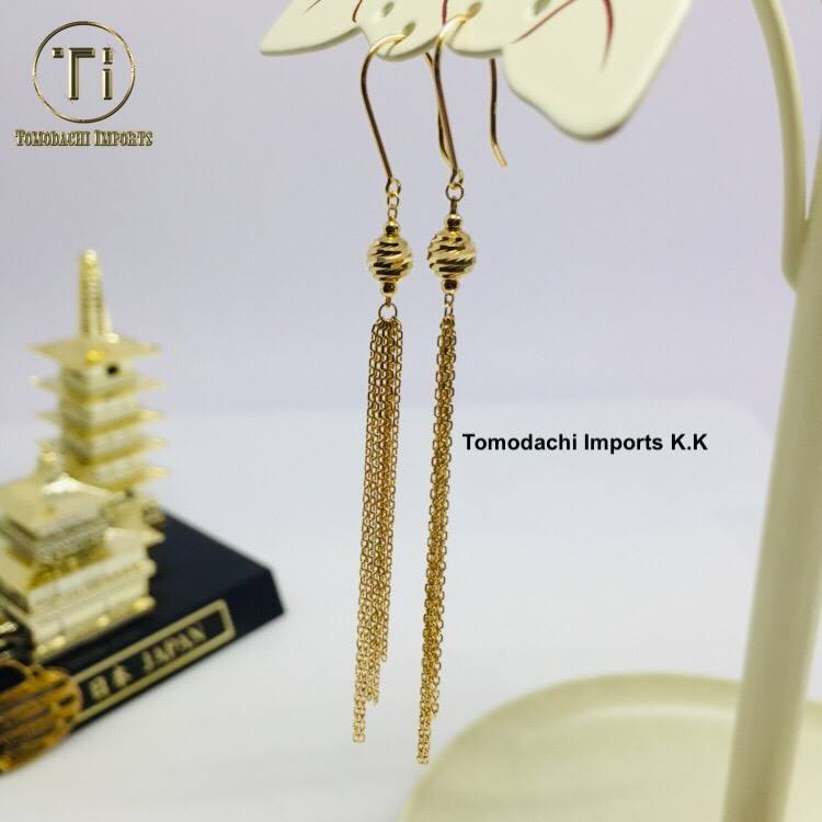 18K Japan Yellow Gold Fringe Earrings with Ball