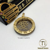18k Japan Yellow Gold Ai Pendant with Hoop