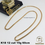 18K Japan Yellow Gold 12 cut 15g 60cm Kihei Necklace