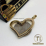 18k Japan Yellow Gold Smooth Open Heart Pendant with Chain