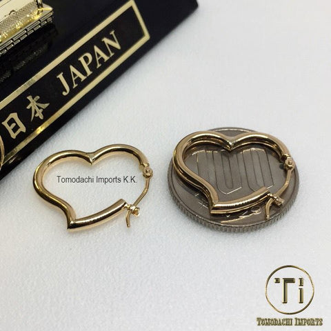 18k Japan Yellow Gold Small Heart Pipe Earrings
