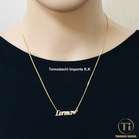 18K Japan Yellow Gold 2 cut Personalized Necklace (small font-45cm chain)