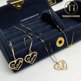 18k Japan Yellow Gold Love Heart Pendant and chain with matching Earrings and Ring
