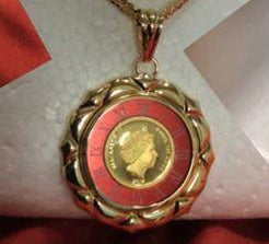 18k Japan Yellow Gold Elizabeth Pendant with Red