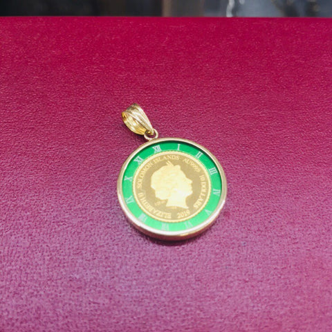 18K Japan Yellow Gold Elizabeth-Angel Pendant in Green and 1.2g Roro Chain