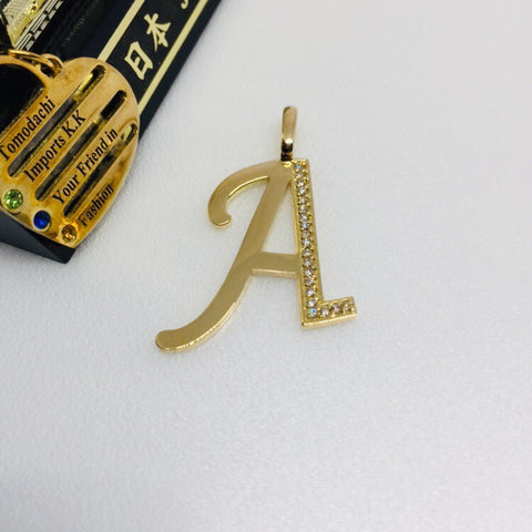 18K Japan Gold Initial Top Pendant - A