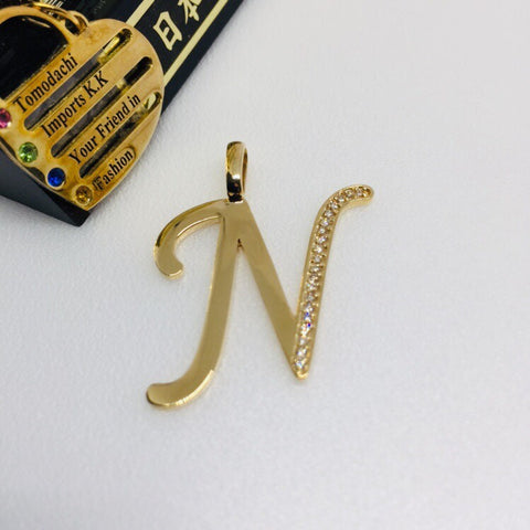 18K Japan Gold Initial Top Pendant - N