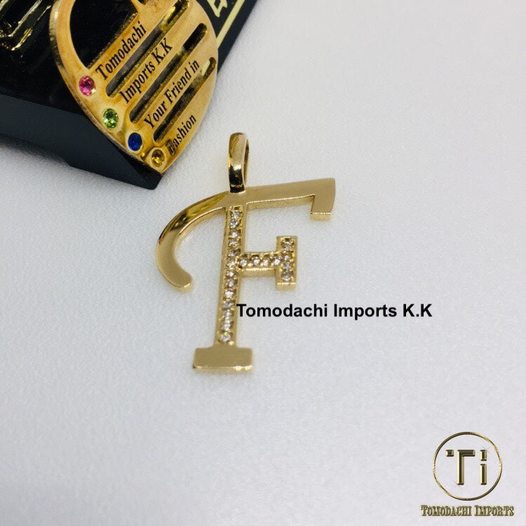 18K Japan Gold Initial Top Pendant - F