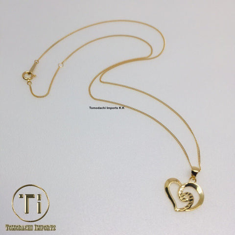 18k Japan Yellow Gold Heart Pendant and Chain Necklace