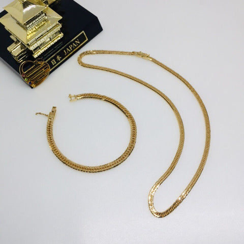 18K Japan Gold  8 cut 10g 40cm Necklace and 8 cut 10g 18cm Bracelet
