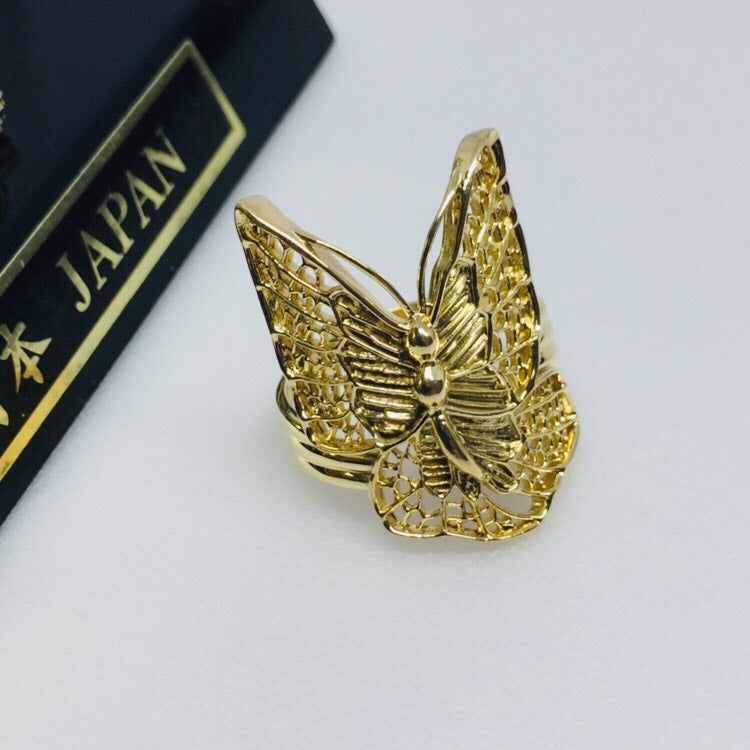18K Japan Yellow Gold Butterfly Ring