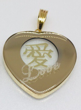 18K Japan Yellow Gold Heart Shaped Ai Pendant