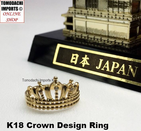 18k Japan Yellow Gold Crown Design Ring