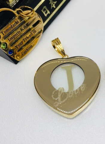 18K Japan Gold Initial Love Pendant - J