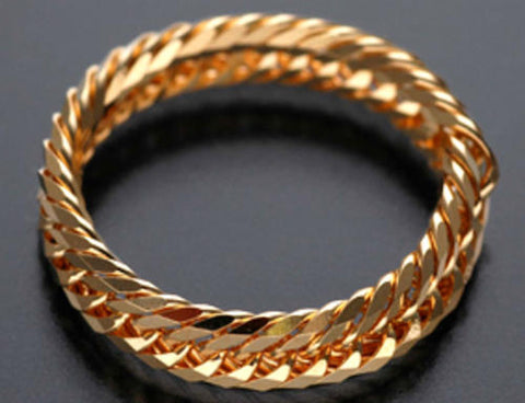 18K Japan Yellow Gold 12 cut Chain Ring size 14
