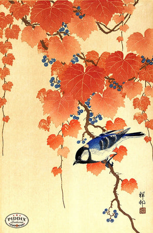 PDXC19544 -- Japanese Bird and Leaves