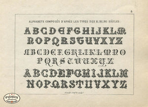 Alphabet Text Pdxc11372 Black & White Engraving
