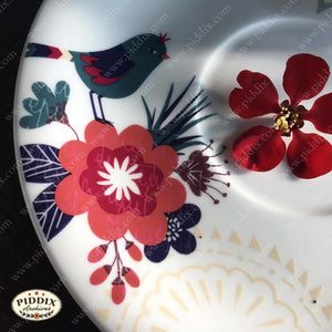 Bird and Flower Plate -- Piddix Licensed Products Licensed Piddix Product