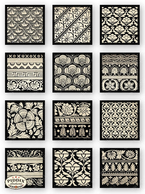 Bombay Silk Black & White Patterns Lithograph