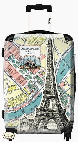 Paris Map Travel Luggage -- Piddix Licensed Products Licensed Piddix Product